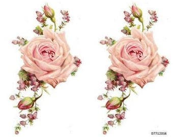 VinTaGe XL PaLe PinK CaBbaGe RoSe SWaGs SHaBbY DeCaLs ~FurNiTuRe SiZe~