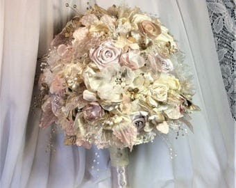 Bridal Pink Wedding Flower Bouquet Rose Gold Blush Brides Flowers Brooch