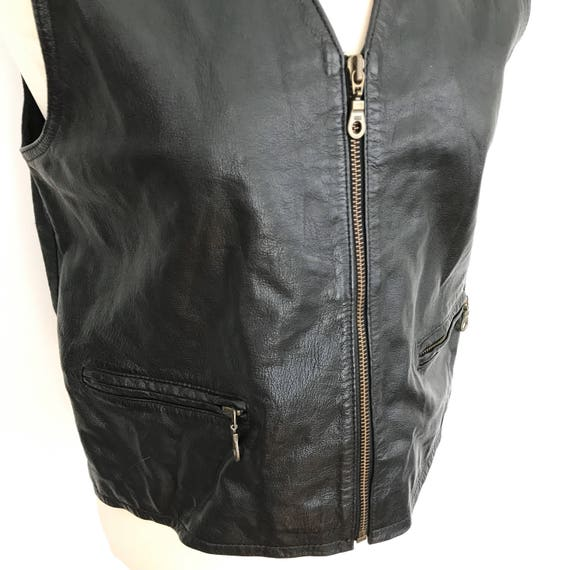 Leather waistcoat black vest 1970s 1980s nu wave boho top UK 12 M lace up hippie vintage 80s