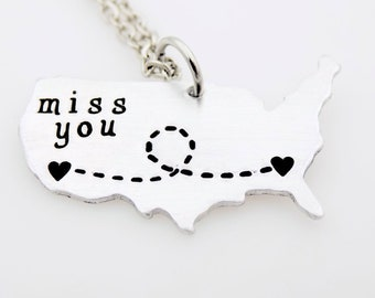 Long distance necklace, USA Map jewelry Long distance for her Miss you, Long distance friend, Long distance family, Long distance Girlfriend