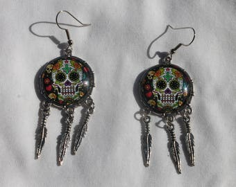 Halloween Day of the Dead Sugar Skull Dangle Drop Earrings Ant. Silver SS1  /1pair