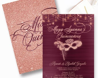 Sweet Sixteen Invitation, Rose Gold Sweet Sixteen Invite, Masquerade Bling  Invitation, Burgundy Quinceanera