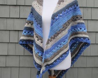 Crochet Shawl, Crochet Wrap, Crochet Triangle Scarf, Triangle Shawl, Crochet Blue Grey Striped Shawl Scarf by CROriginals