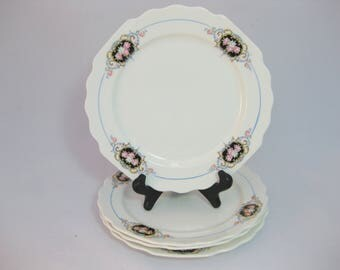 China Plates, Luncheon Plates by W S George White, Lido, set of four