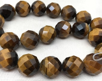 """15"""" Strand Tigers Eye Gemstone Beads Faceted Round 16mm"""