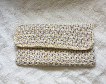 1960's White Beaded Clutch