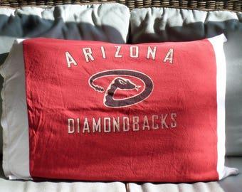 Arizona Diamondbacks Pillowcase MLB Upcycled/recycled T-shirt Standard size baseball pillow cover/bedding