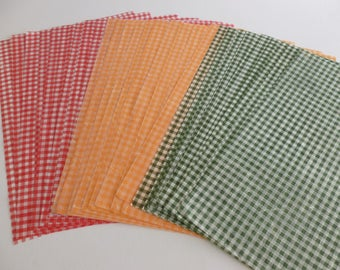 30 A4 sheets gingham mulberry paper red/green/orange