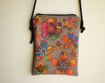 Shoulder bag, crossbody bag, flowers bag, printed bag, little bag, flower