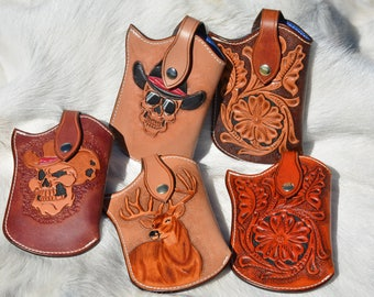 Hand Tooled Leather Cell Phone Holster/ Leather Cell Phone Case