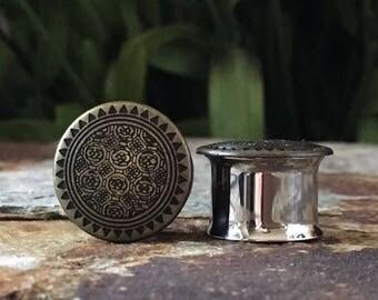 Tribal Plugs, gauges in Antique Gold  00g, 7/16, 1/2 9/16 5/8 3/4, 10mm 11mm 12mm 14mm 16mm 19mm
