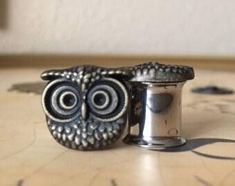Antique Gold Hued Owl Plugs, gauges  0g, 00g, 7/16, 1/2