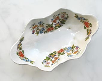 Cottage Garden Aynsley Bone China Dish, Made in England, Footed Shell Bowl, Floral Sweet Dish, Giftware, Cottage Decor, Chinoiserie