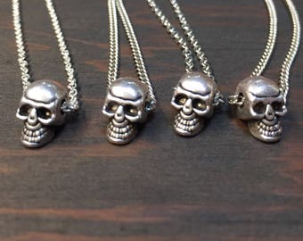 Tiny Skull necklace-Choose your length-Silver Plated Skull Charm on a Dainty Silver Plated Cable Chain or Charm Only-Silver Skull necklace