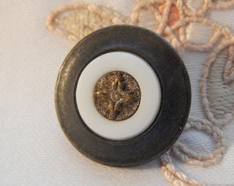 Thread Back with Milk Glass and Brass - Antique Button