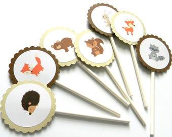 12 Baby Woodland Animals Cupcake Toppers, Woodland Birthday, Fox Theme, Woodland Animals, Fox Party Decor, Forest Animals, First Birthday