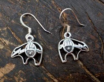Sterling silver native bear with claw earrings, bear claw earrings, sterling silver bear earrings, native bear jewelry, bear earrings, bear