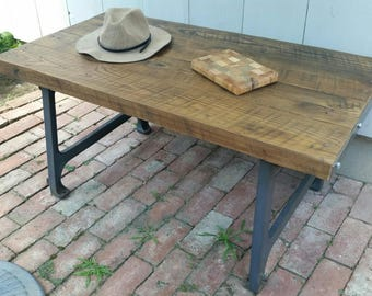Vintage Reclaimed Chestnut and Cast Iron Base Coffee Table