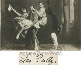Circus performers acrobats antique photo postcard