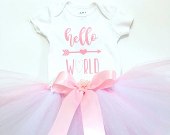 Hello World Newborn Girl Outfit, Hello World Outfit, Newborn Girl Coming Home Outfit, Going Home Outfit Girl, Newborn Girl Take Home Set
