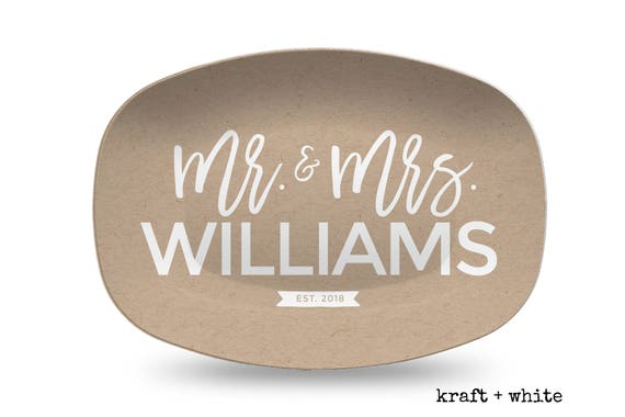Kraft And White Words Personalized Platter Wedding Gift For Bride