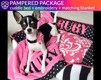Custom Bed & Blanket Combo for Dogs or Cats - Personalized Custom Cuddle Bed with Coordinating Blanket
