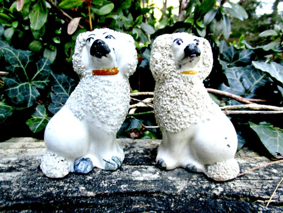 Antique Staffordshire Dogs, Pair Staffordshire Poodles, Confetti Poodles, Staffordshire England, Very Old, Late 1800s