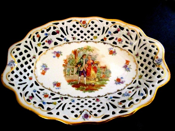 Vintage Serving Platter, Made in Germany, US Zone, Victorian Scene, Reticulated Lace Borders, Late 1940s