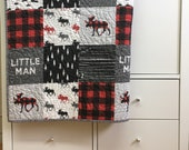 Baby boy quilt, woodland animals, buffalo plaid baby, modern baby, handmade baby quilt, made in Canada, #192