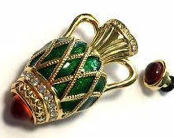 RARE Joan Rivers Perfume Bottle Brooch - Gold Tone with Enameling and Stones - S2172
