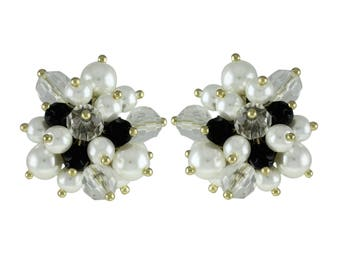 Joan Rivers Pierced Earrings - Black and White with Faux Pearls - S2332