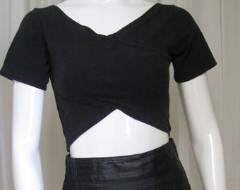 Black crop top, 1980s-90s vintage Energie Bi Currants body-con stretch top, size small