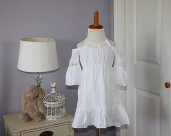 Boho summer dress -- white with off white lace trim