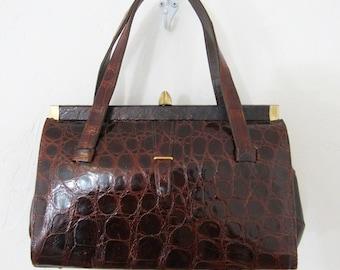 1950s-60s Genuine Alligator Handbag