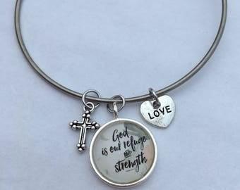 God is Our Refuge and Strength - charm bangle bracelet