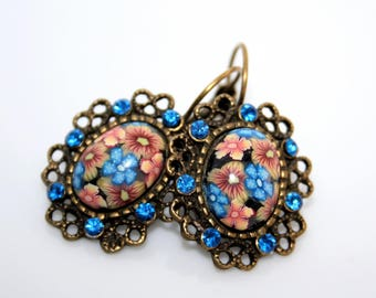 Earrings sleepers with Cabochons in polymer and Crystal/nightblue and Orange