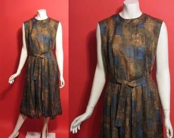 ON SALE Vintage 1950's Autumn Leaves Linen Pleated Atomic 50's Womens Dress - M