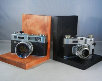Kodak 35 RF and Yashica Electro 35 Camera Bookends for the Photography Enthusiast