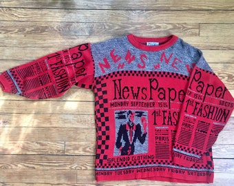 vintage, red, black and gray pullover, knit sweater