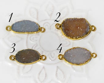 Druzy Connector, Electroplated with 24K Gold, 0717
