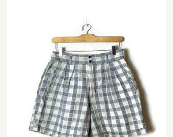 ON SALE Vintage Blue x White  Plaid /Checked High waist Flare Shorts from 90's/W26*