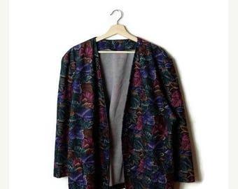 ON SALE Vintage Oversized  Dark Floral Printed Collarless Blazer/Carigan from 1980's*
