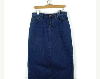ON SALE Blue Denim Long Skirt /Pencil Skirt from 90's