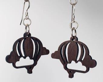 Hot Air Balloon Earrings - Ebony Wood - Laser Cut