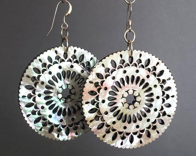 Mandala Earrings - Mother of Pearl - Bohemian Earrings - Laser Cut Earrings