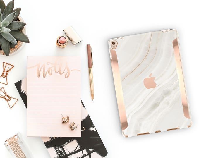 "Featured listing image: Marble Stone with Rose Gold for the iPad Pro 10.5"" / iPad Pro 12.9"" Smart Keyboard compatible Hard Case - Platinum Edition"