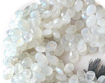 """20% OFF Single Strand Rainbow Moonstone Briolette Beads, 9x5mm Faceted Gemstone Teardrop Beads 8"""" Inch Long (DRRM-70009)"""