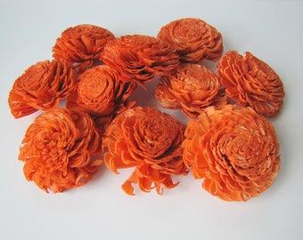 Orange Large Chorki Sola Flowers - Set of 10, Orange Sola Flowers, Chorki Sola Flowers, Sola Flower, Wood Sola Flowers, Keepsake flowers