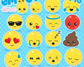 80% OFF SALE Emoji clipart commercial use, smiley face clipart vector graphics, emoji party digital clip art, smiley digital images - CL1062