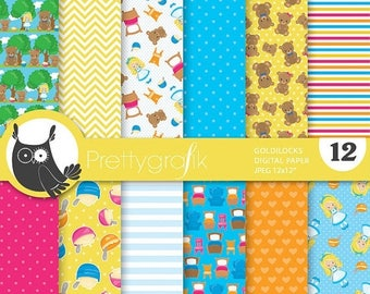 80% OFF SALE Goldilocks paper digital papers, commercial use, fairytale scrapbook papers, goldilocks scrapbooking, background - PS839